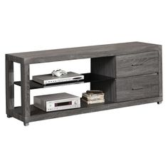 Bring modern, natural style into the media room with the Monroe two-drawer TV cabinet. Its warm, sophisticated wood grain finish is perfectly paired with charcoal and dark grey for contemporary flair, and two ample drawers with metallic pulls are perfect for hiding electrical accoutrements.