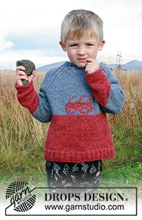 Tiny trucker / DROPS children - free knitting patterns by DROPS design Knitted pullover with tractor and raglan for children. The piece is worked in DROPS Sky. Baby Knitting Patterns, Baby Sweater Knitting Pattern, Knitting For Kids, Free Knitting, Crochet Patterns, Drops Design, Crochet Design, Knitting Gauge, Crochet Diagram