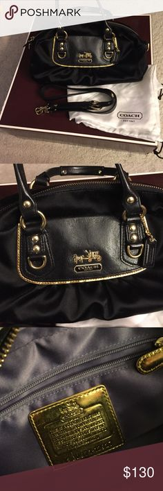 """Coach Amanda Black Satin Mini Satchel Bag Excellent used condition. Minor marking on bottom. Features gold tone hardware, 2 flat leather top handles (3"""" drop), a flat leather adjustable/removable shoulder strap (13"""" max drop) and a top zipper closure with a black leather zipper pull. Interior is lined in purple Satin texture fabric with a side zipper pocket and a side flat pocket. Creed No. G0871-12927. Includes dust bag. Approximately 11"""" long, 6"""" high, 4"""" wide. Not from a smoke free house…"""