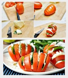 Myfridgefood - Hasselback Caprese Salad  I am not sure this is that low in carbs.  I am pretty sure tomatoes are higher than than by themselves.