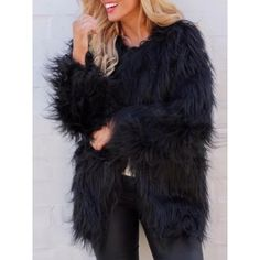 Choies Black Fluffy Faux Fur Longline Coat ($54) ❤ liked on Polyvore featuring outerwear, coats, black, long faux fur coat, long length coats, fake fur coats, longline faux fur coat and longline coat