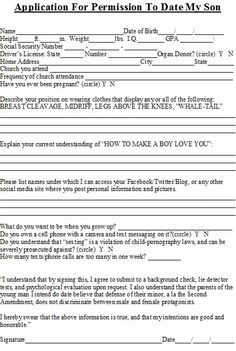 Funny questionnaire for dating my daughter