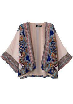 Art Deco Design Multicolor Floral Seven's Sleeve Kimono #Art_Deco #Design #Floral #Kimono #Fall #Fashion