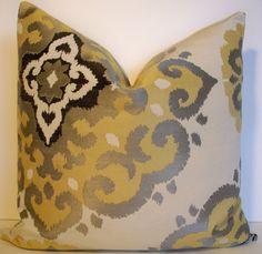 Yellow Gray Silver Cream Black Jacquard Suzani Decorative Pillow Cover 18X18. $32.00, via Etsy.
