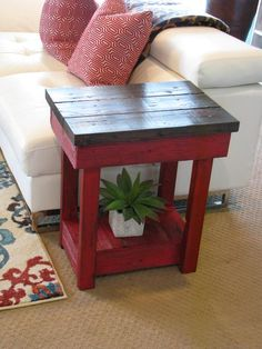 New Red Rustic Furniture Side Tables Ideas Diy Garden Furniture, Furniture Projects, Furniture Makeover, Furniture Outlet, Discount Furniture, Furniture Movers, Western Furniture, Rustic Furniture, Painted Furniture