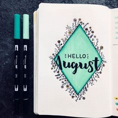 Bullet journal monthly cover page, August cover page, hand lettering, flower doodles. | @january.journal Bullet Journal Month, Bullet Journal Hacks, Bullet Journal Themes, Bullet Journal Layout, Bullet Journal Inspiration, Journal Pages, Journal Ideas, Flower Doodles, Cover Pages