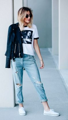 mom jeans | graphic tee | leather jacket | white sneakers