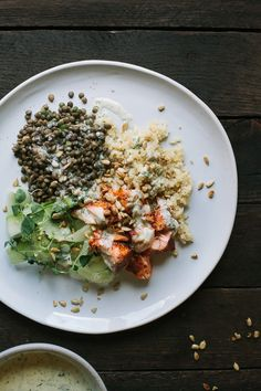 Baked Salmon and Lentils with Quinoa, Shaved Cucumbers, and Dilled ...