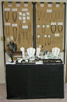 Small Jewelry Booth Idea. Love the PVC pipe frame in the background, with burlap (or other fabric) sewn to fit