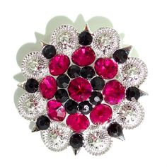 "Western Cowgirl Rhinestone Pink-Black Berry Concho 4 Leather Single Screw 1.5"" BeltsBootsBling.com - $6.95"