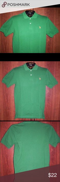 U.S. POLO ASSN., 2 Button Collared Oxford Shirt Brand New with Tags!!! U.S. POLO ASSN.,  Men's Green 2 Button Collared Oxford Shirt. Shirt has Short Sleeve  and is a Men's Size Small. Material is 100% Cotton.  When laying flat, the shirt measures 20 inches from Armpit to Armpit and 30  inches from Shoulder to End of Material at Waist. Please note, measurements are approximate. U.S. Polo Assn. Shirts Polos