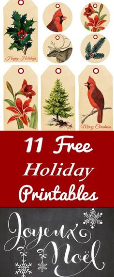 11 Free Holiday Printables from The Graphics Fairy!