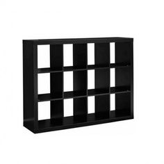 Cube Storage Unit Black Wooden 12 Cubby Organizer Bin Box Cubicle Furniture New Cube Storage Unit, Cube Shelves, Cubicle, Cubbies, Decor Styles, Hardware, Box, Furniture, Black