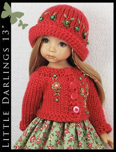 """Dark Coral & Green Outfit for Little Darlings Effner 13"""" by Maggie & Kate Create"""