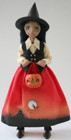 OOAK Sculpted Witch, Sculpted pumpkin bucket, Painted Dress, Ehag, Pfatt, via Etsy.