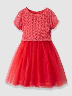 0150ecf37fcd2b Vertbaudet Festliches Mädchenkleid mit Spitze in koralle Kapuze