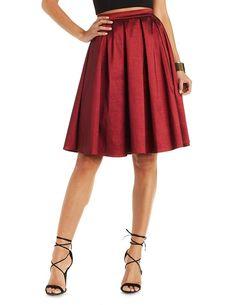 Pleated Taffeta Full Midi Skirt by Charlotte Russe - Burgundy