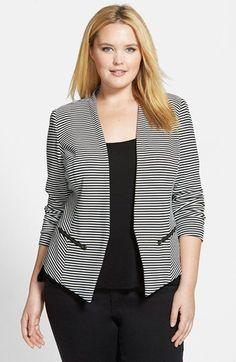 Sejour 'Jetsetter' Stripe Ottoman Knit Jacket (Plus Size) | Nordstrom