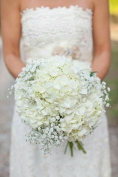 Baby's Breath and White Hydrangea Bouquet ~ Powder Blue ~ White Shabby Chic Wedding. We love this bouquet! All White Wedding, White Wedding Bouquets, Chic Wedding, Floral Wedding, Wedding Day, Trendy Wedding, White Bridal, Wedding Bouquets With Hydrangeas, Summer Wedding