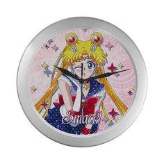Sailor Moon Pois Silver Color Wall Clock