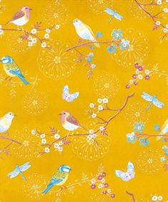 Early Bird - Pip Wallpaper Wallpapers - Stylised garden birds on floral branches, with butterflies and dragon flys. Shown in sugar sweet colours set on a vibrant gloss mustard yellow background with stylised flower heads. Mustard Wallpaper, Love Wallpaper, Designer Wallpaper, Pattern Wallpaper, Wallpaper Wallpapers, Fish House, Bokeh Lights, Pip Studio, Wallpaper Iphone Disney