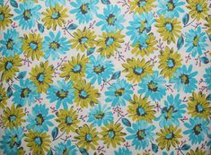 Sewing, Cotton Fabric, Quilting, Quilting Fabric, Sewing Fabric, Fabric, Fabric Traditions, Green and Blue Daisies, Mia Bunches of Daisies