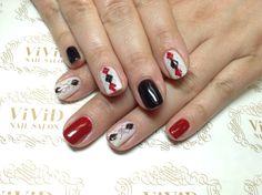 #vividnailsalonsydney#calgel#sydney#nail#nails#nailart#geldesign#art#nalisalon#gelnail#japanesenailart#ネイル#ネイルアート#ジェルネイル#カルジェル#美甲#指甲#black#white#red#card