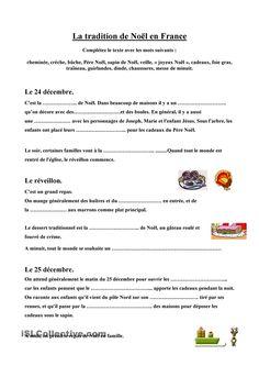 Texte lacunaire sur Noël en France #fle #learnfrench #frenchbook