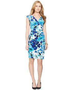 Lauren Ralph Lauren Cap-Sleeve Floral-Print Dress - Dresses - Women - Macy's