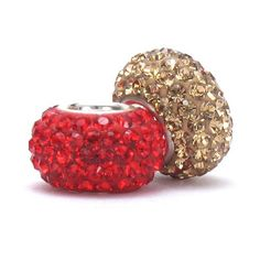 Set of 2 - Bella Fascini Red & Champagne Gold Crystal Pave Sparkle Bling - SF 49ers Football Team Colors Mix - Solid .925 Sterling Silver Core European Charm Bead Made with Authentic Swarovski Crystals - Compatible Brand Bracelets : Authentic Pandora, Chamilia, Moress, Troll, Ohm, Zable, Biagi, Kay's Charmed Memories, Kohl's, Persona & more! Bella Fascini Beads,http://www.amazon.com/dp/B00A71M8RU/ref=cm_sw_r_pi_dp_rluHsb08KCTQ07FS