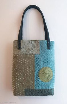 Linen tote bag with leather straps Sashiko Hand embroidered