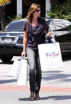 Cindy Crawford Photos - Actress Cindy Crawford out shopping with a friend at Freg Segal in Santa Monica, CA. - Cindy Crawford Out Shopping At Fred Segal Shopping Day, Shopping Spree, Cindy Crawford Photo, Shop Till You Drop, Celebs, Celebrities, Ladies Day, Therapy, Tote Bag