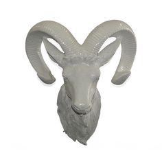High-gloss White Ceramic Ram Head Wall Plaque | Overstock.com
