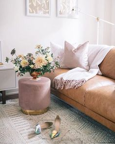Living Room Makeover in Toronto. A fresh for fall living room makeover (with a touch of pink! Fall Living Room, Living Room Sofa, Living Room Furniture, Living Room Decor, Living Rooms, Living Room Upgrades, Living Room Remodel, Tan Leather Sofas, Leather Furniture