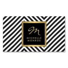 Retro Black and White Pattern Glam Gold Monogram Business Card Template - An eye-catching design featuring your monogram/initial and name on the front. 100% customizable.