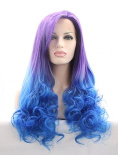 Sylvia® Purple and Blue Long Wavy Lace Front Synthetic Wigs
