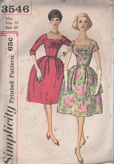 Simplicity 3546 Vintage 60's Sewing Pattern AMAZING Chic Square Notched Neckline Bell Shaped Pleated Skirt Cocktail Dress, Red Carpet Gala Gown