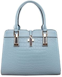 1d6ef8cea707 Heshe Genuine Leather New Office Lady Casual Vintage Crocodile Top Handle Tote  Shoulder Crossbody Bag Satchel Purse Women s Handbag (Lake Blue)