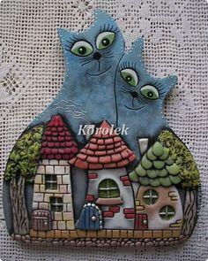 Картина панно рисунок Лепка Литьё Коты- нерозлучники из гипса Гипс Тесто соленое фото 2