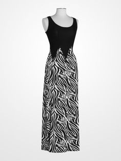 7684a8a528b8 Black and White Zebra Print Maxi Dress  animalprint White Zebra