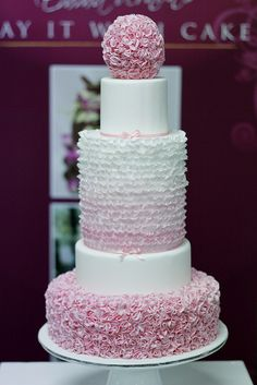 Insanely detailed! Pink Frills 5 tier wedding cake by Say it with Cake, via Flickr