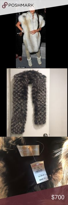 Michael Kors AUTHENTIC Fox Fur Stole NWT 🐺 This Michael Kors fox fur stole is a stunning addition to any neutral cold weather look, perfect for apres ski. This gorgeous piece measures approximately 78 inches long and 6 inches wide. Cover photo of Kim is for styling inspiration only. Michael Kors Accessories