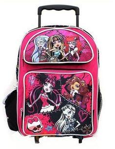 """Monster High Roller School Backpack 16"""" Large Pink Rolling Bag"""