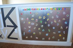 magnet wall - Id love for my little man to have this in his room or a play room one day...less messy then a chalk board