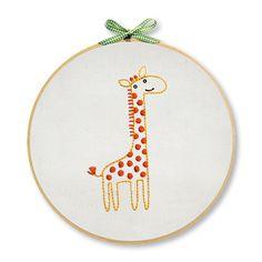 Giraffe Hand Embroidery Wall Art Kit OFF) Kit de arte de pared bordado a mano jirafa Baby Embroidery, Simple Embroidery, Learn Embroidery, Hand Embroidery Stitches, Silk Ribbon Embroidery, Embroidery Techniques, Embroidery Ideas, Embroidery Sampler, Knitting Stitches