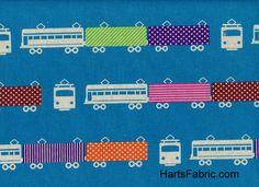 Echino Train Fabric Turquoise