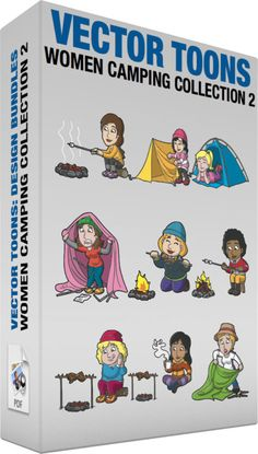 Women Camping Collection 2 :  Bundle of images includes the following:  A Woman Roasting Marshmallows At The Campsite A woman with brown hair in low ponytail wearing a yellow sweatshirt gray cargo pants purple with pink rubber shoes smiles while sitting on a piece of log as she grills a marshmallow on a gray stick in her right hand above a flaming campfire  A Woman Fixing Her Tent A woman with black hair wearing a pink beanie pink with white jacket with hood gray pants red shoes smirks while…