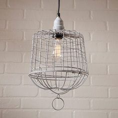 Egg Basket Wire Cage Pendant in Weathered Zinc, Grey (Metal)
