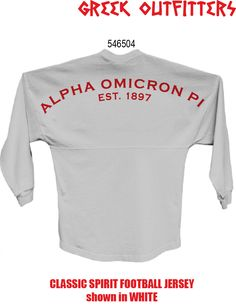 Greek Outfitters Alpha Omicron Pi Classic Spirit Football Jersey #grafcow