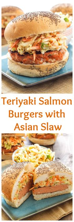 Teriyaki Salmon Burgers with Asian Slaw   This healthy Asian inspired salmon burger is perfect for grilling season! #WildAlaskaSeafood #CleverGirls